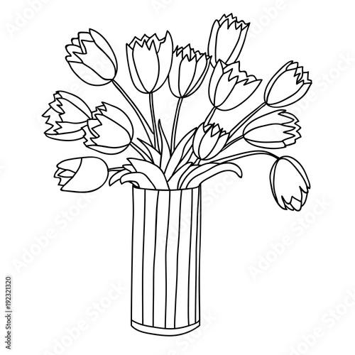 Cute Cartoon Flowers In Vertical Striped Vase Tulip Buy This