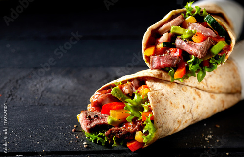 Fotografie, Obraz  Tortilla wraps with tender entrecote beef steak