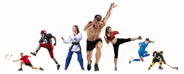 Sport collage about boxing, soccer, american football, ice hockey, jogging, taekwondo, tennis