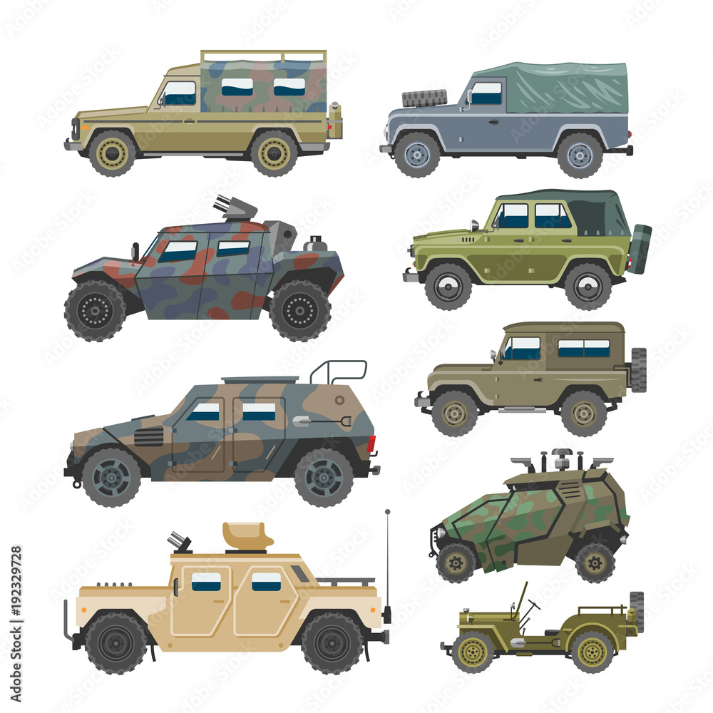 Fototapeta Military vehicle vector army car and armored truck or armed machine illustration set of war transportation isolated on white background