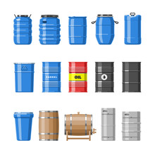 Barrel Vector Oil Barrels With...