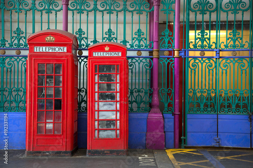 Fotografie, Obraz  Red english phone booths