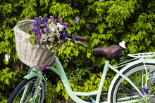 Bicycle With Basket Of Flowers...