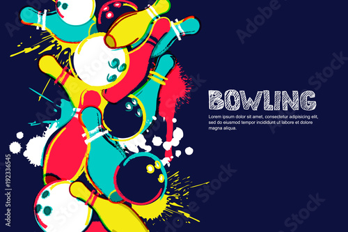 Leinwand Poster Vector bowling horizontal dark background