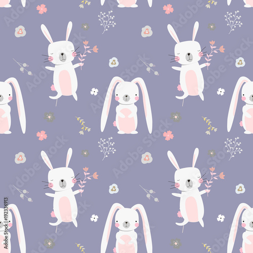 Cotton fabric Lovely rabbits in hearts and flowers. Cute childish seamless pattern in cartoon style.