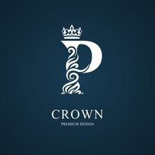 Elegant Letter P With Crown. Graceful Royal Style. Calligraphic Beautiful Logo. Vintage Drawn Emblem For Book Design, Brand Name, Business Card, Restaurant, Boutique, Hotel. Vector Illustration