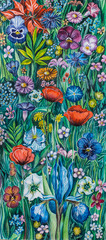 Panel Szklany Ogrody Watecolor Garden Flowers