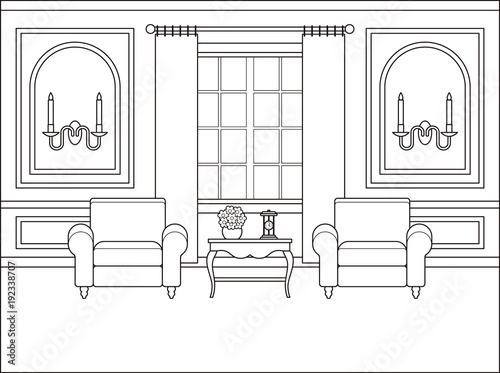 Room Interior Vector Outline Living Room Coloring Page Black White Sketch In Classic Style Home Space Furniture In Flat Design Linear Contour Background Cartoon Illustration In Line Art Buy This Stock