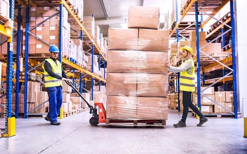 Cuadros en Lienzo Warehouse workers pulling a pallet truck.