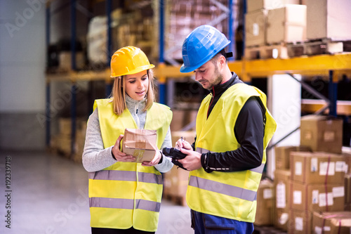 Obraz Young warehouse workers working together. - fototapety do salonu