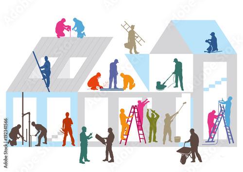 Fotografie, Obraz  Baustelle mit Bauhandwerkern