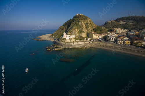 aerial view of the Tyrrhenian Sea at Capo d'Orlando in Sicily Wallpaper Mural