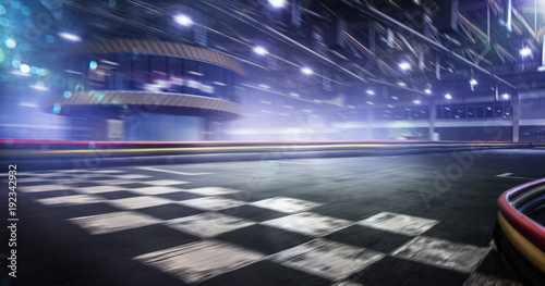 Photo sur Aluminium F1 Cart race track finish line in motion background