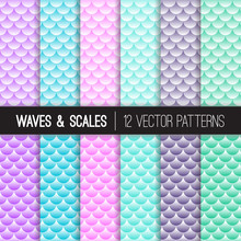 Mermaid Scales And Sea Waves Seamless Scalloped Vector Patterns In Turquoise, Pink, Violet, Aqua Blue And Marine Green. Repeating Pattern Tile Swatches Included.