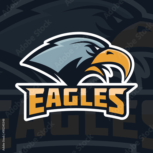 Eagles  emblem template with eagle head  sport team mascot