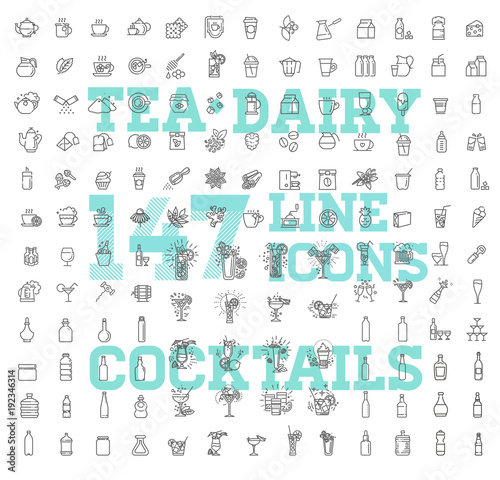 Fotomural 147 drinks thin vector icon set