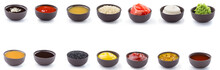 Sauces Set In Brown Bowls Isol...