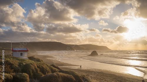 Windy sunset at Widemouth, Bude Canvas Print