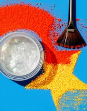 Powdered Cosmetics With Makeup Brush And Container