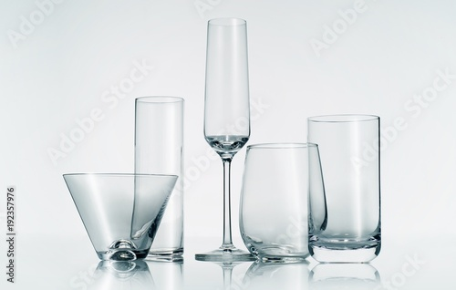 Empty drink glasses and champagne flute