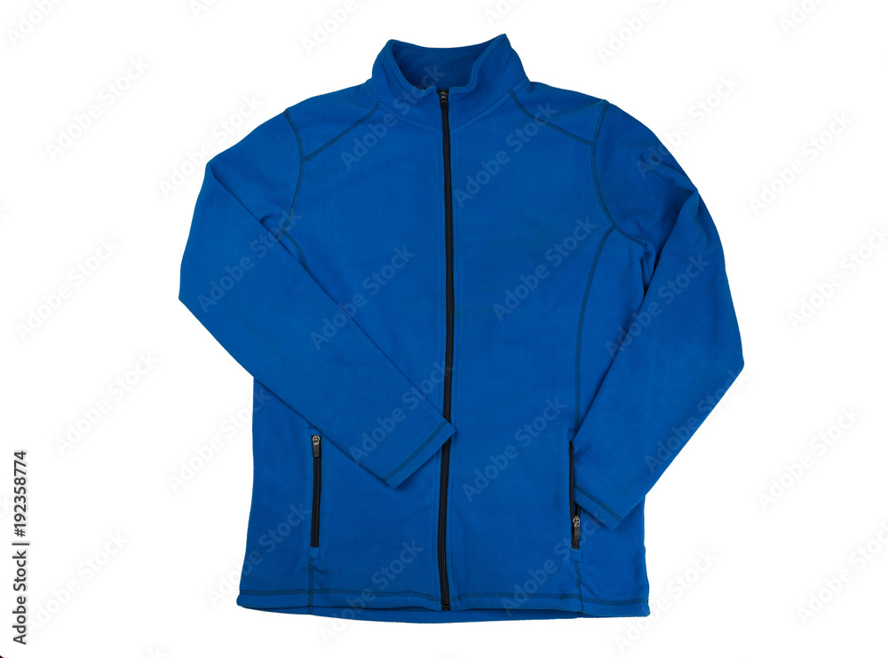 Fototapeta Blue fleece jacket. Isolate on white