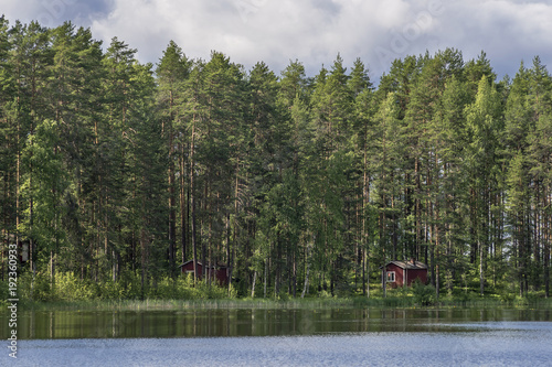 Fotografía  Typical Finnish cottages in the woods, Punkaharju, Lake District, Finland