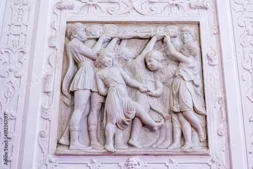 Fotografia, Obraz Ornamental allegoric bas-relief marble sculpture with childrens playing
