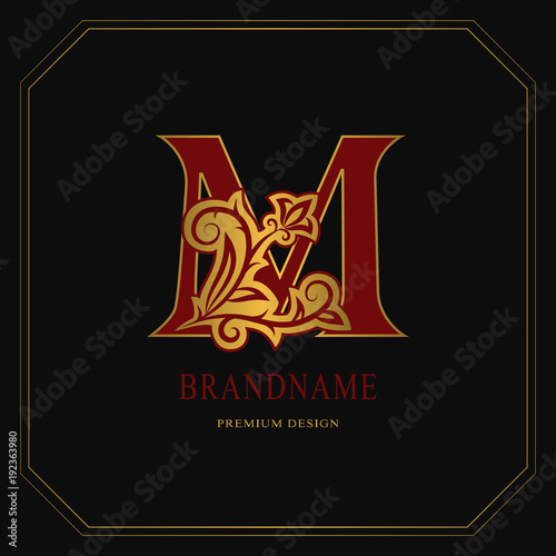 Elegant Capital Letter M Graceful Floral Style Calligraphic Gold