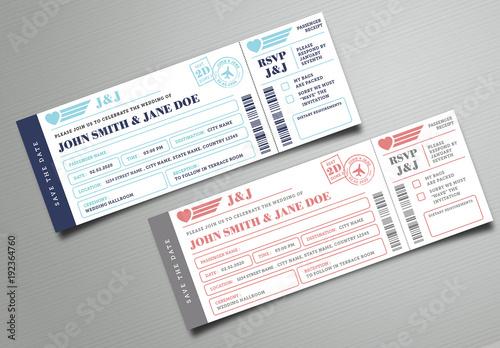 Wedding Invitation Paper Types: Boarding Pass Wedding Invitation Ticket。Adobe Stock でこの