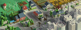 Fototapeta City - 3d rendering of city landscape. Low poly colorful background. Isometric cartoon city scape. Different districts: simple rural cottages and fields, houses and stores, downtown with skyscrapers..