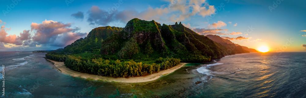 Fototapeta Aerial View of Hawaii's Na Pali Coast, Kauai