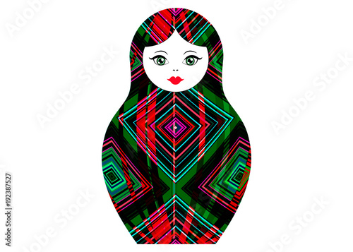Matryoshka icon Russian nesting doll with colorful ornament , vector isolated Poster Mural XXL