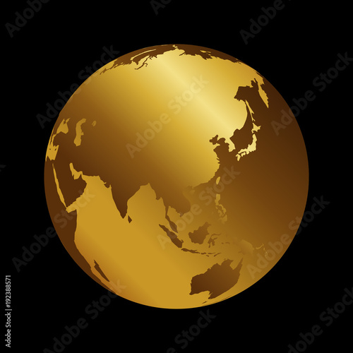 World Map 3d View.Asia Golden 3d Metal Planet Backdrop View Russia India And China