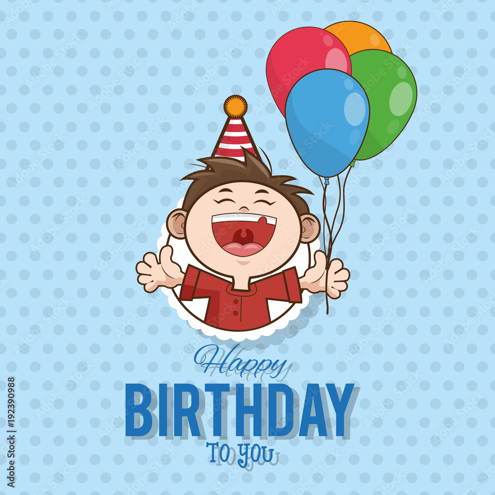 Kid Happy Birthday Card Cartoon Icon Vector Illustration Graphic Design Foto Poster Wandbilder Bei EuroPosters