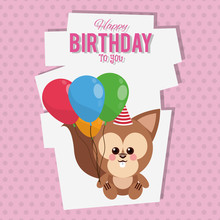 Happy Birthday To You Squirrel Cartoon Icon Vector Illustration Graphic Design