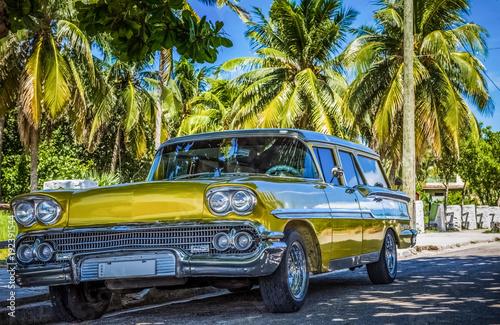 Goldener amerikanischer Oldtimer parkt unter blauem Himmel und Palmen in Varadero Kuba - Serie Cuba Reportage