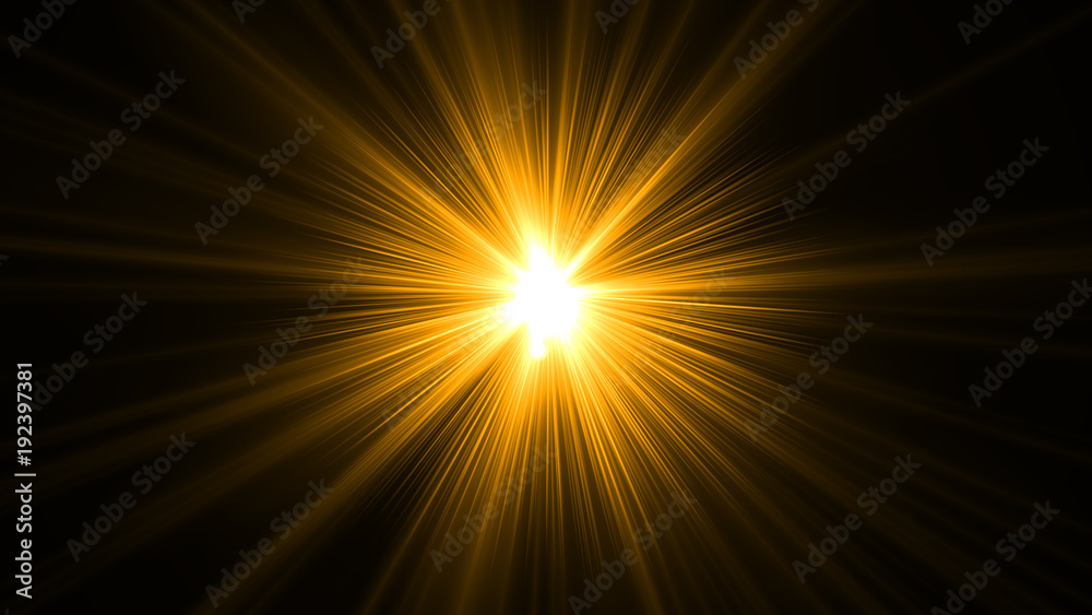 Fototapety, obrazy: glowing abstract sun burst with digital lens flare.can your adjust the color of the light rays using adjustment layer like Gradient Selective Color, and  create sunlight, optical flare
