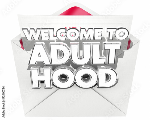 Photo  Welcome to Adulthood Message Note Envelope 3d Illustration