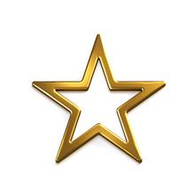 Gold Star Icon. 3D Gold Render Illustration