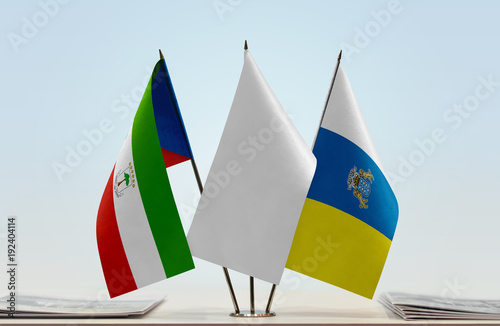 Tuinposter Canarische Eilanden Flags of Equatorial Guinea and Canary Islands with a white flag in the middle