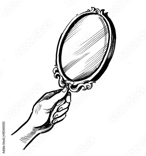 Hand Holding A Mirror Black And White, Black And White Mirror Clipart