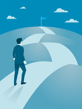 Businessman Walking Steady To The Top Of Mountain, Flat Vector Of Business Working Hard To Reach Goal