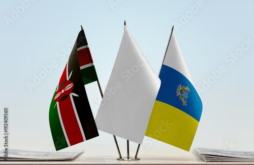 Tuinposter Canarische Eilanden Flags of Kenya and Canary Islands with a white flag in the middle