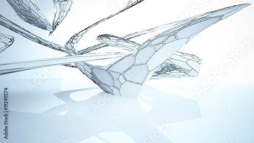 Foto op Plexiglas Trappen Abstract drawing white parametric interior with window. Polygon colored drawing. 3D illustration and rendering.