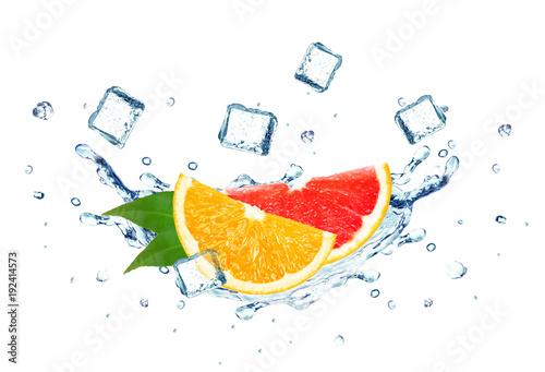Printed kitchen splashbacks grapefruit and orange splash water and ice cubes isolated