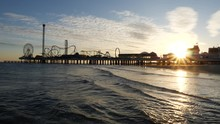 Sunset Behind The Galveston Pi...