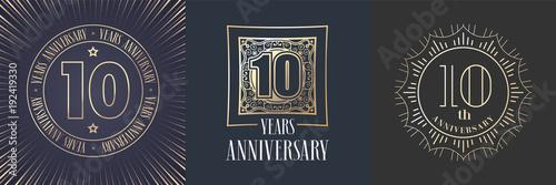 Photo 10 years anniversary vector icon, logo set