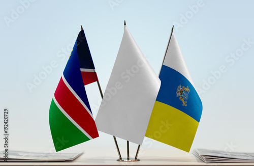 Deurstickers Canarische Eilanden Flags of Namibia and Canary Islands with a white flag in the middle