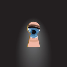 Blue Eyes In The Keyhole. Curi...
