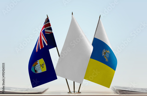 Deurstickers Canarische Eilanden Flags of Saint Helena and Canary Islands with a white flag in the middle